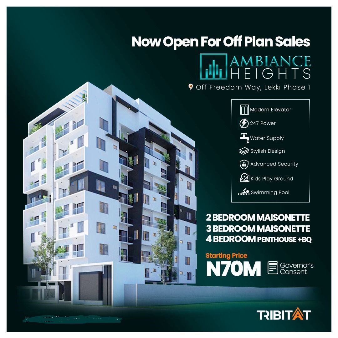 AMBIANCE HEIGHTS, LEKKI PHASE 1 --- LUXURIOUS 2 & 3 BEDROOM MAISONETTE AND 4 BEDROOM PENTHOUSE